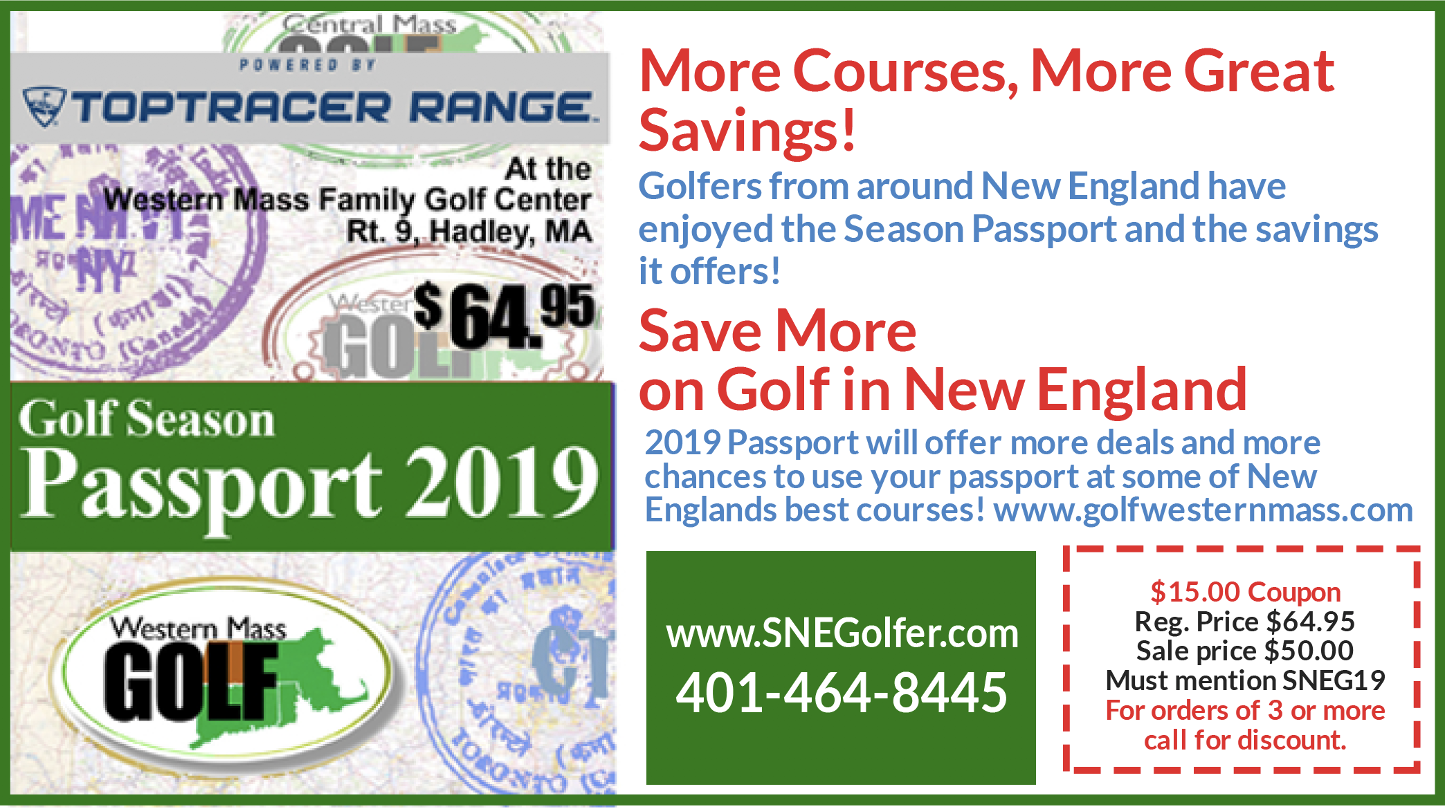 2018 Season Passport - Huge Savings on New England Golf